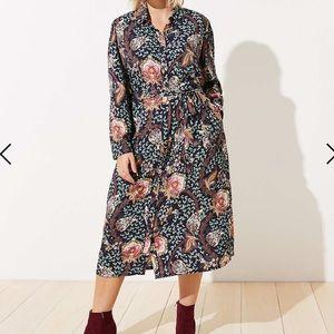 LOFT Floral Tie Waist Midi Shirtdress size 8p NWOT